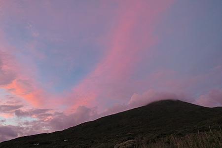 ピンク色の八丈富士